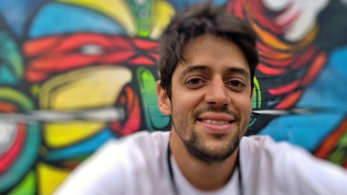 The Brazilian artist Fabio Lopes has only been in the country for a short time