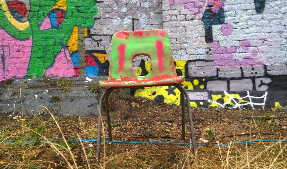 A painted chair on Pedley Street