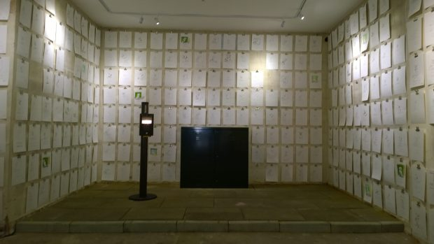 The back of the gallery full of sketches
