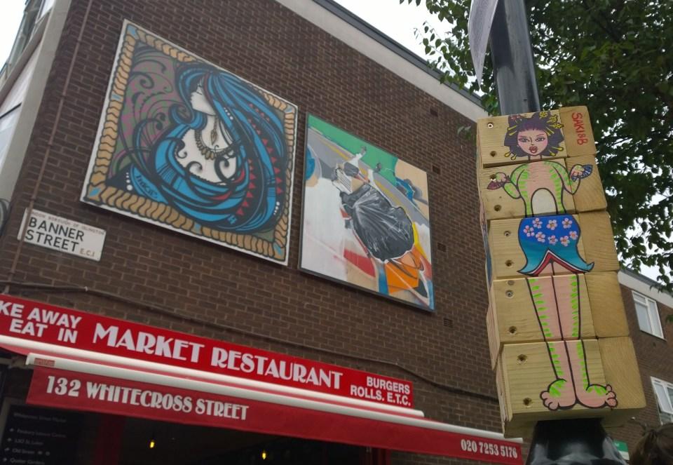 Inkie, Mohammed Sami and Saki & B art on Whitecross Street