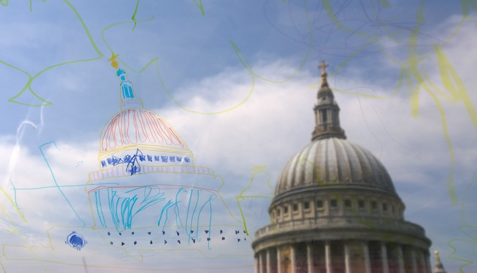 St. Pauls as seen from One New Change and as through the eyes of one of the Archikids