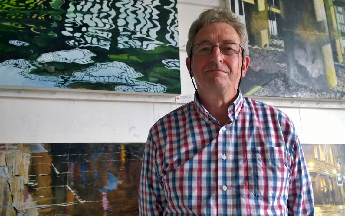 Artist Mick Dean in his studio