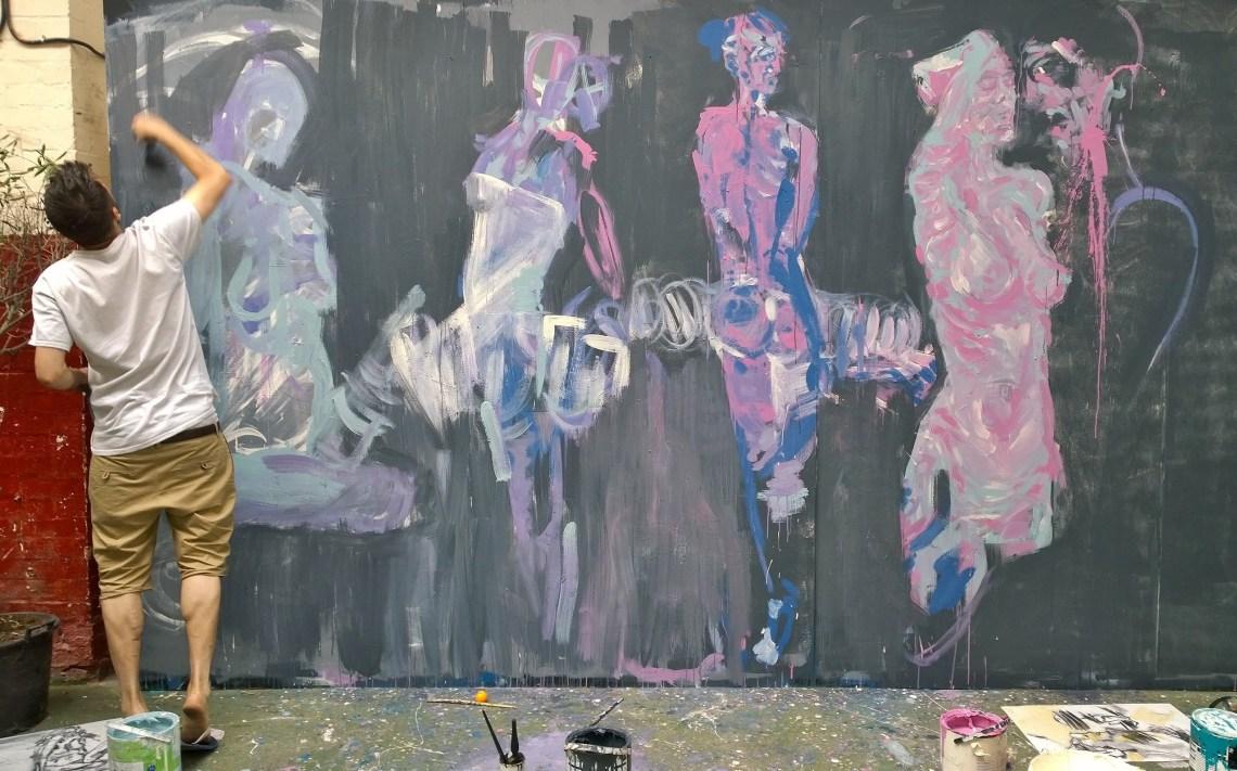 Street Artist Neoh painting in Hackney Wick