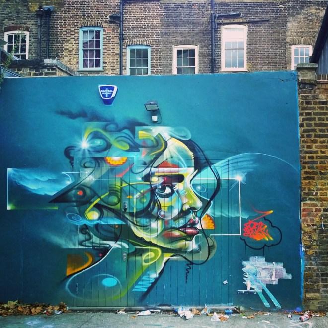 Mr Cenz art in the Seven Stars car park on Brick Lane