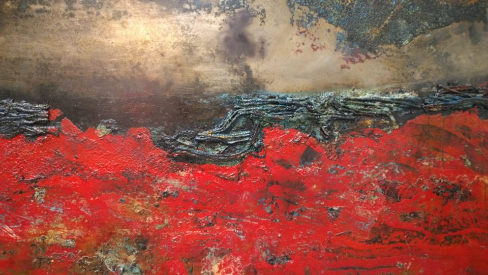 Creating landscapes from burning materials onto sheet metal.  Sam's work can quite literally be a product of its environment.