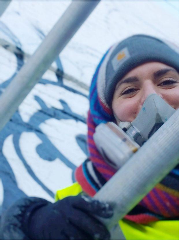 Amara on the scaffold