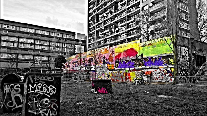 The graffiti wall at the Trellick Tower