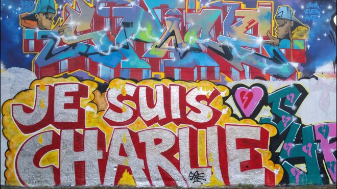 Visiting just after the terrorist events against the satirical magazine Charlie Hebdo in Paris.  Graffiti writers had already paid tribute at the tower with this 'Je Suis Charlie' tag