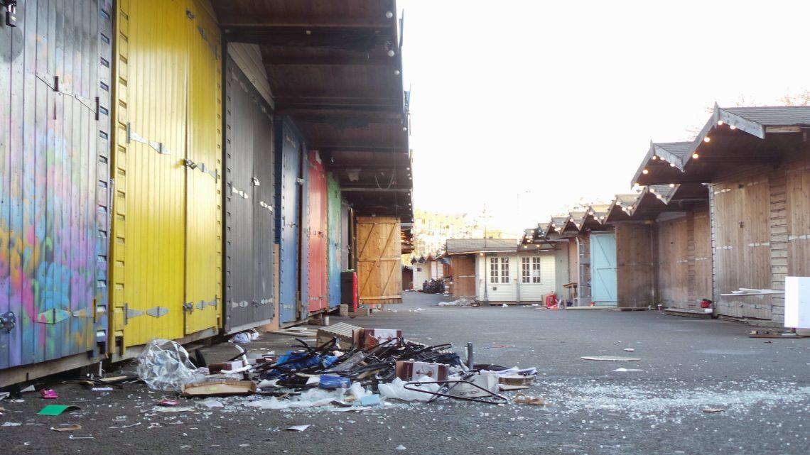 Piles of debris littered the aisles