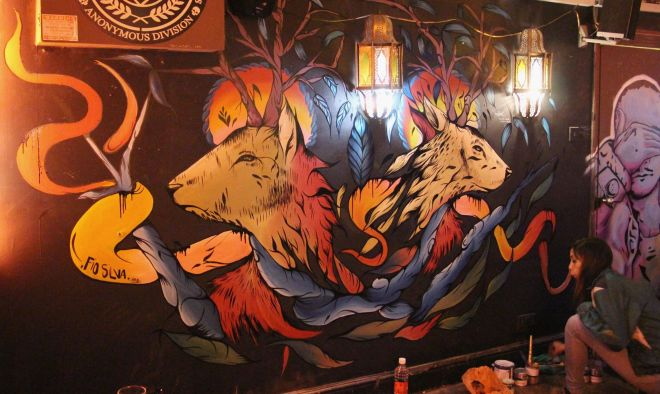 Two stags in Montys Bar on Brick Lane.  Picture by Fio Silva