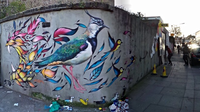Roaring lion and birds in Turnpike Lane with work from ATM