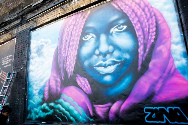 The finished mural by Zina on the Shoreditch Art Wall