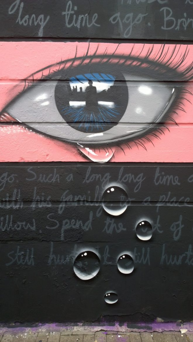 Close up of My Dog Sighs latest piece in Camden
