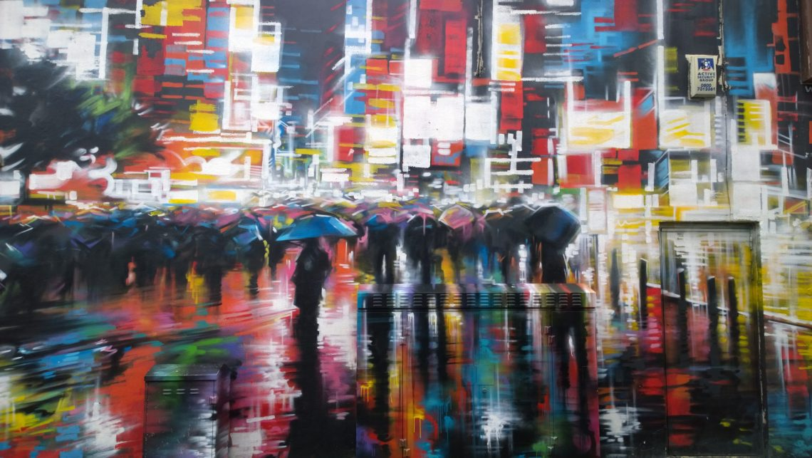 Art by Dan Kitchener covers a whole building on the other side of the road
