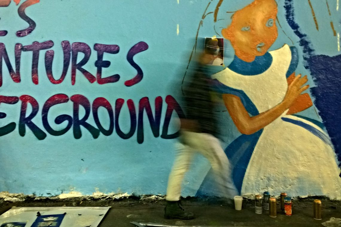 Alices Adventures Underground.  Sarah Gillings aka SOS recreated her famous FGM mural