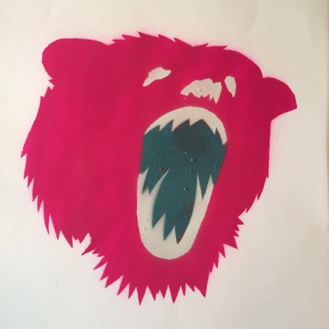 Limited edition screen print of a bear created as part of the show