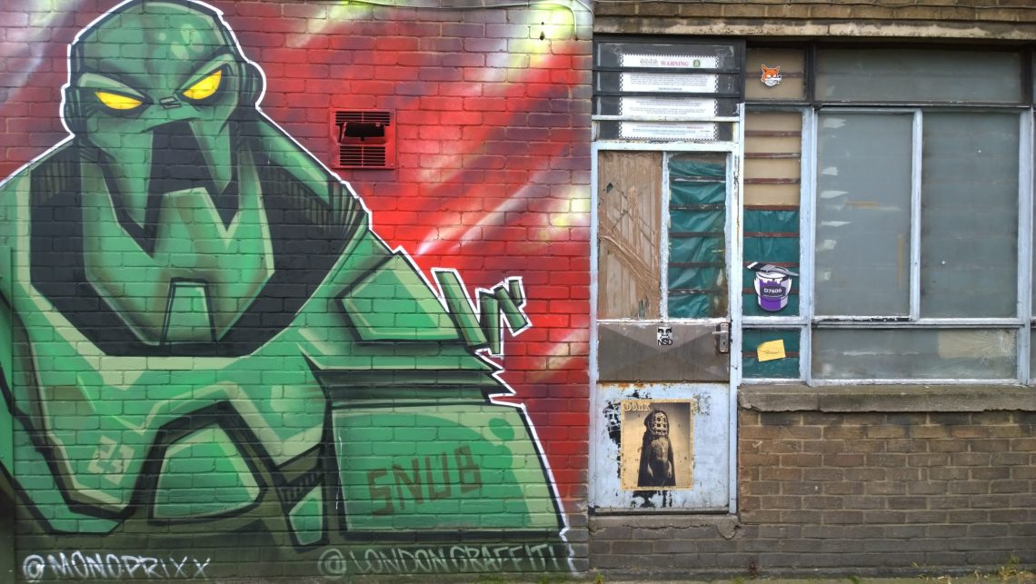 Snub's famous Mongrol in a car park just off from Cambridge Heath Road