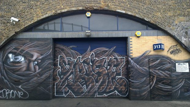 Work from Eoin O'Connor and 2rise in an alley just off from Cambridge Heath Road