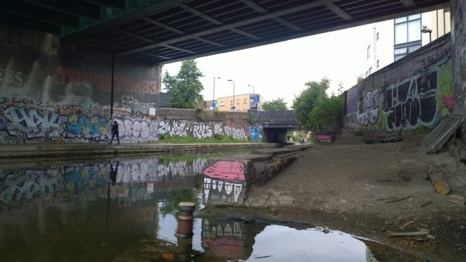 The regents canal with some small Sweet Toof pieces dotted around