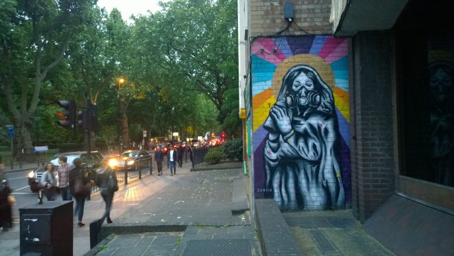 Zabou art on Cambridge Heath Road.  This piece can be found near the junction with Nant Street