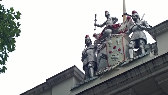 Look up and this statue can be seen on the roof of the Armourer and Braisers company