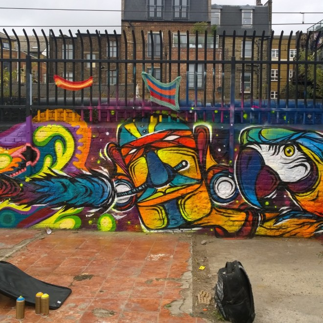 Brazilian Fabio Lopes did a number of walls in the area.  This was in the gardens