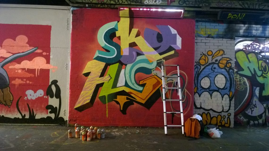 Sky High with his almost finished piece