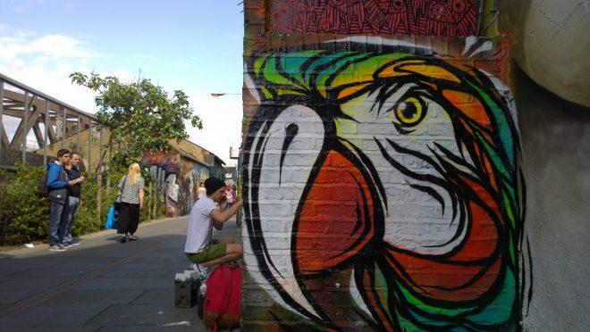 A Fabio Lopes parrot on Pedley Street