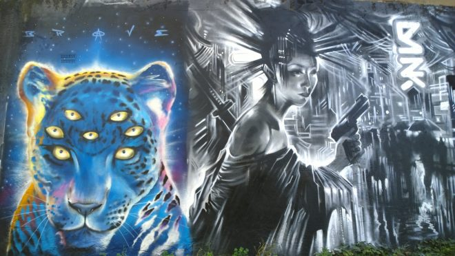 Multi eyed tiger from Brave next to Dan Kitcheners Geisha