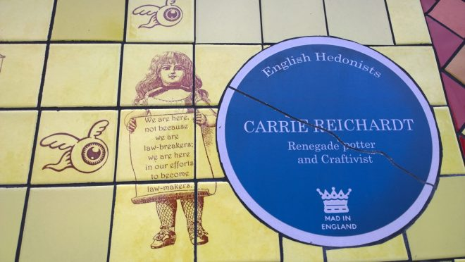 A Carrie Reichardt English Hedonists blue plaque