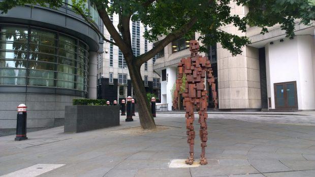 Anthony Gormley sculpture on the corner of St. Bride Street