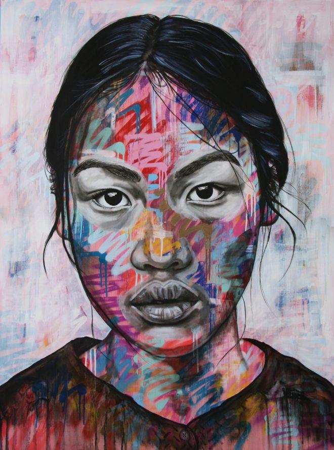 Portrait with a graffit influence