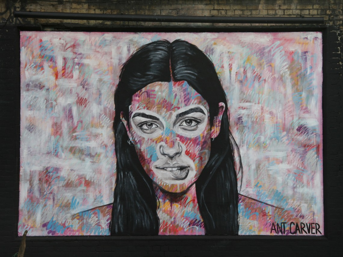 Portrait on the Shoreditch Art Wall by Any Carver