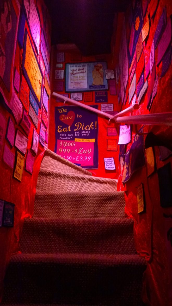 Felt lined staircase leading to the cinema