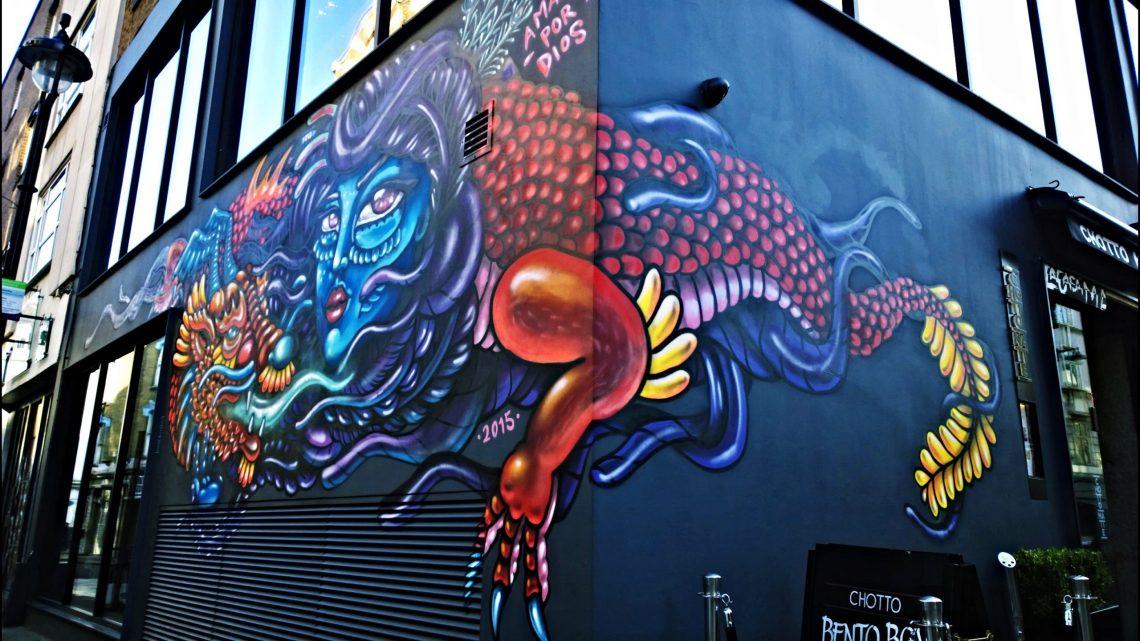 Amara Por Dios mural on Bateman Street in Soho