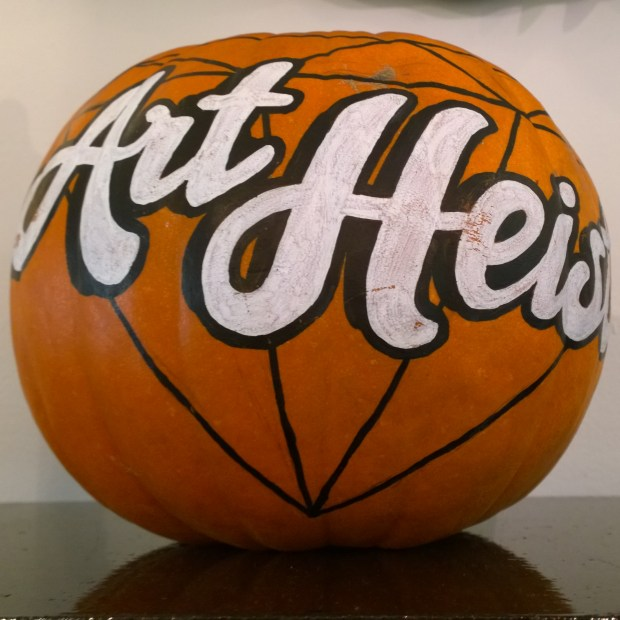 Art Heist pumpkin with lettering from Lilly Lou