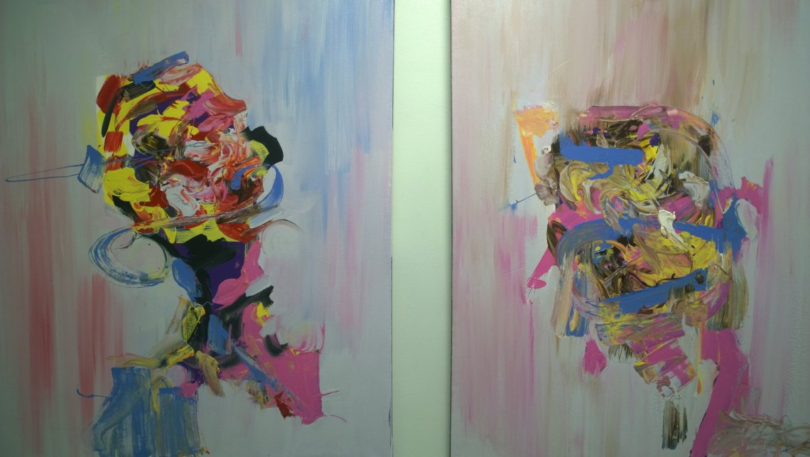 Artwork hanging at the Vandal Therapy exhibition
