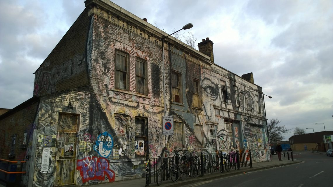 The Lord Napier Pub is covered with  graffiti. It can be found in Hackney Wick