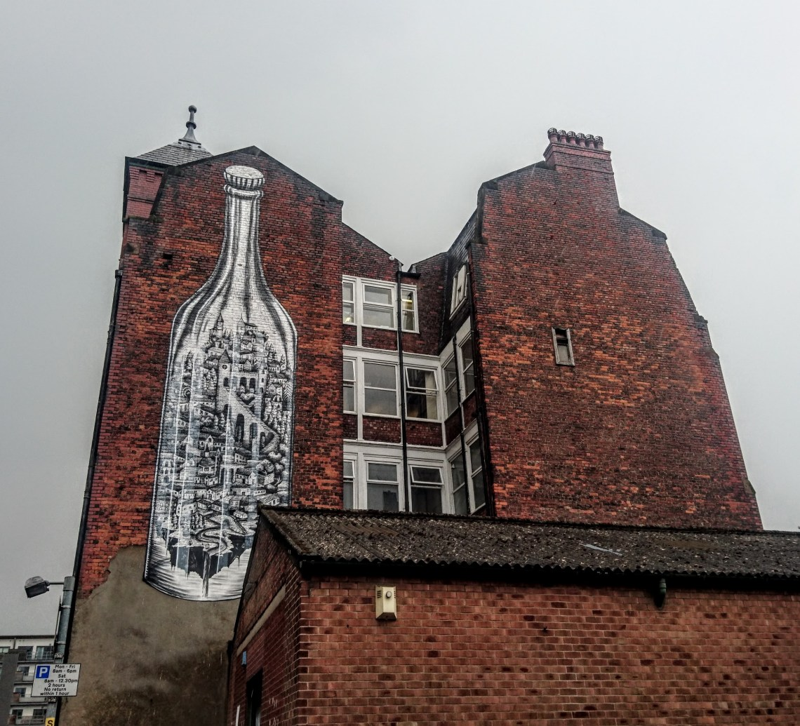 Street art by Phlegm in the Northern Quarter in Manchester