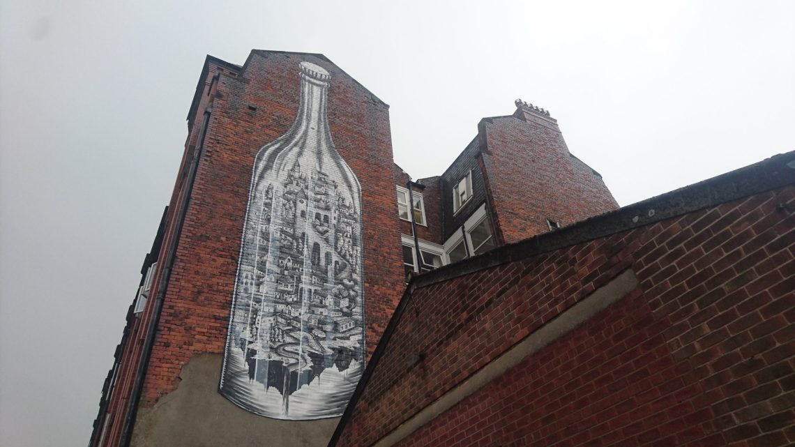 phlegm mural on cable street in Manchester. One of our best artists in Britain