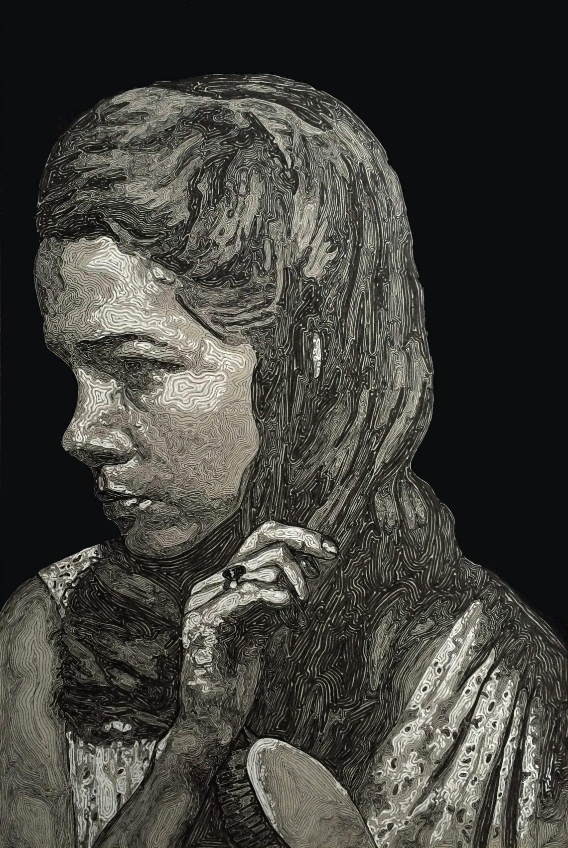 Richard Goold -Girl brushing hair- Fine liner and marker pen on card.42x59 cm