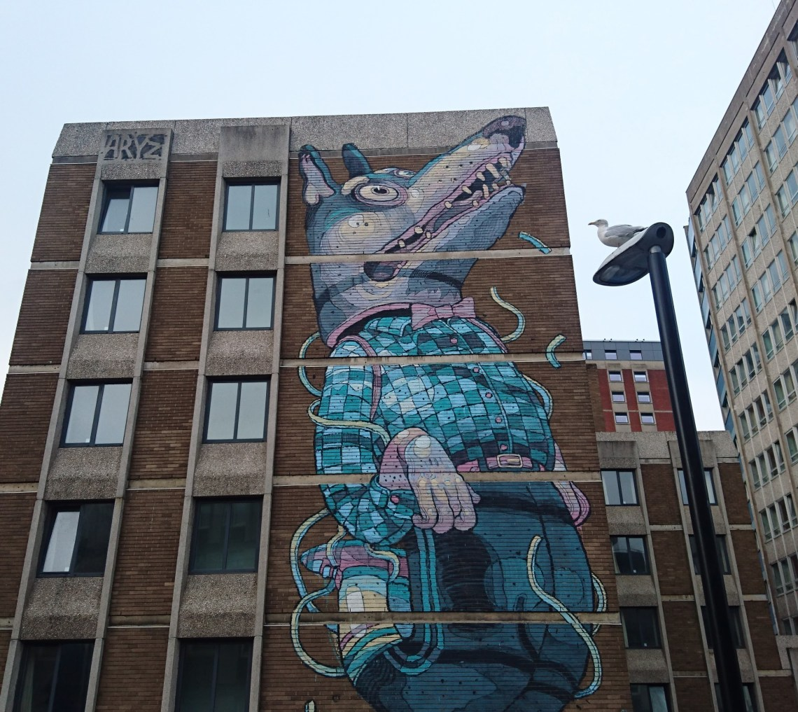 Mural from Aryz painted on Nelson Street in Bristol