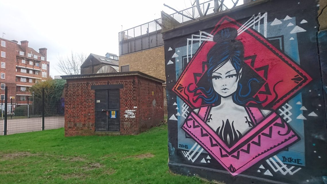 Work by Inkie on the Ferdinand Estate in Camden. He is on our list of best british street artists