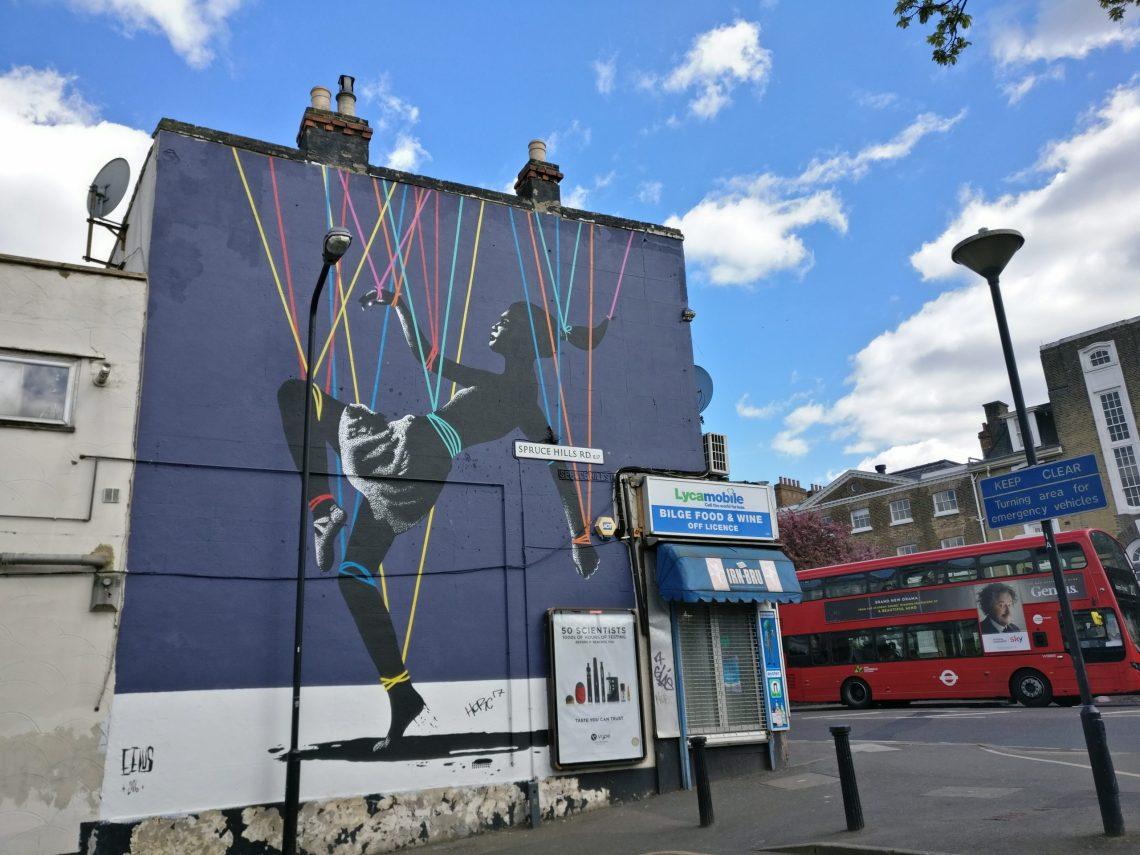 Street art by Eelus painted in Walthamstow in London