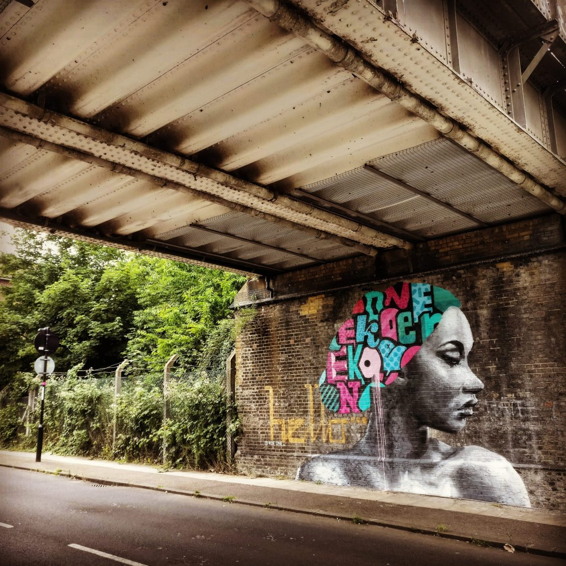 Mural by Koeone under the railway bridge on St Norbert Road. It was created for the 2017 Brockley Street art festival