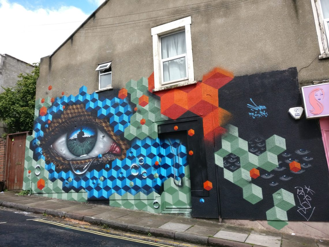 My Dog Sighs & SNUB collaboration at a wall at Upfest in 2017