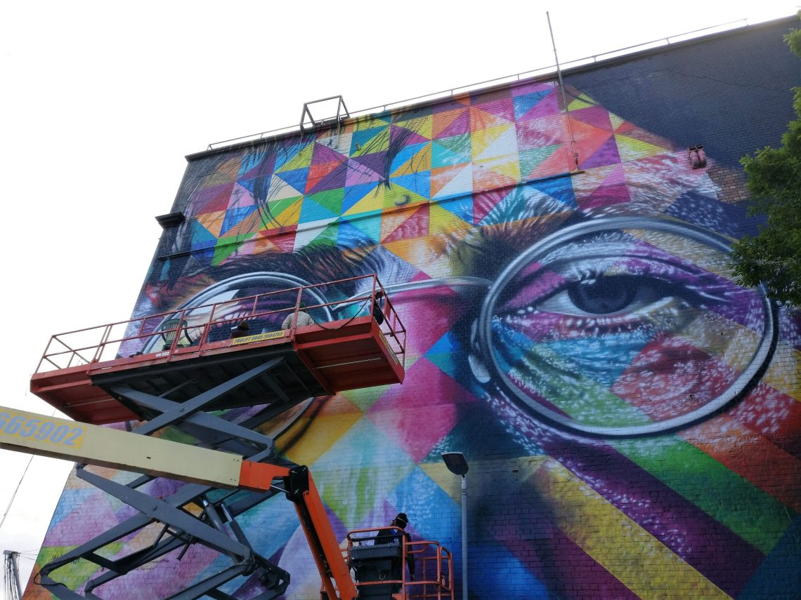 Kobra painting his mural on the Tobacco Factory for Upfest 2017