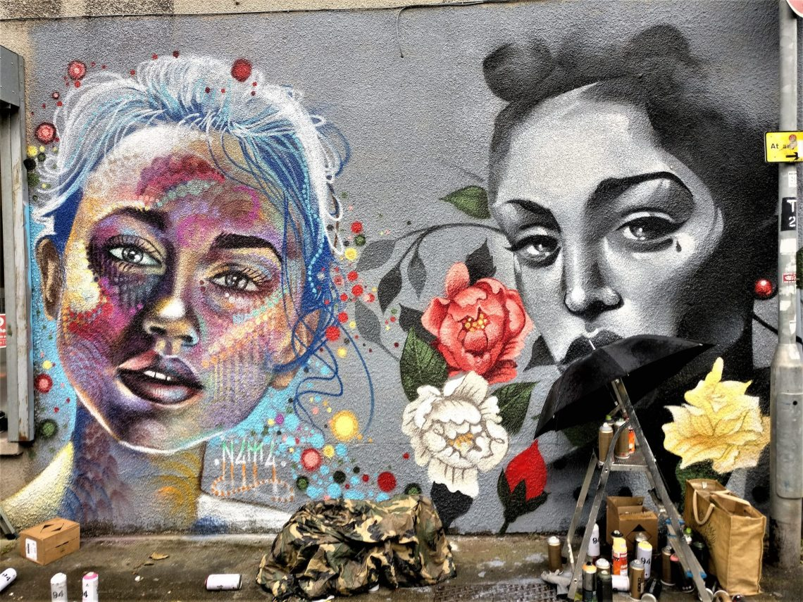 N4T4 and Philith collaboration on a wall at Upfest in 2017