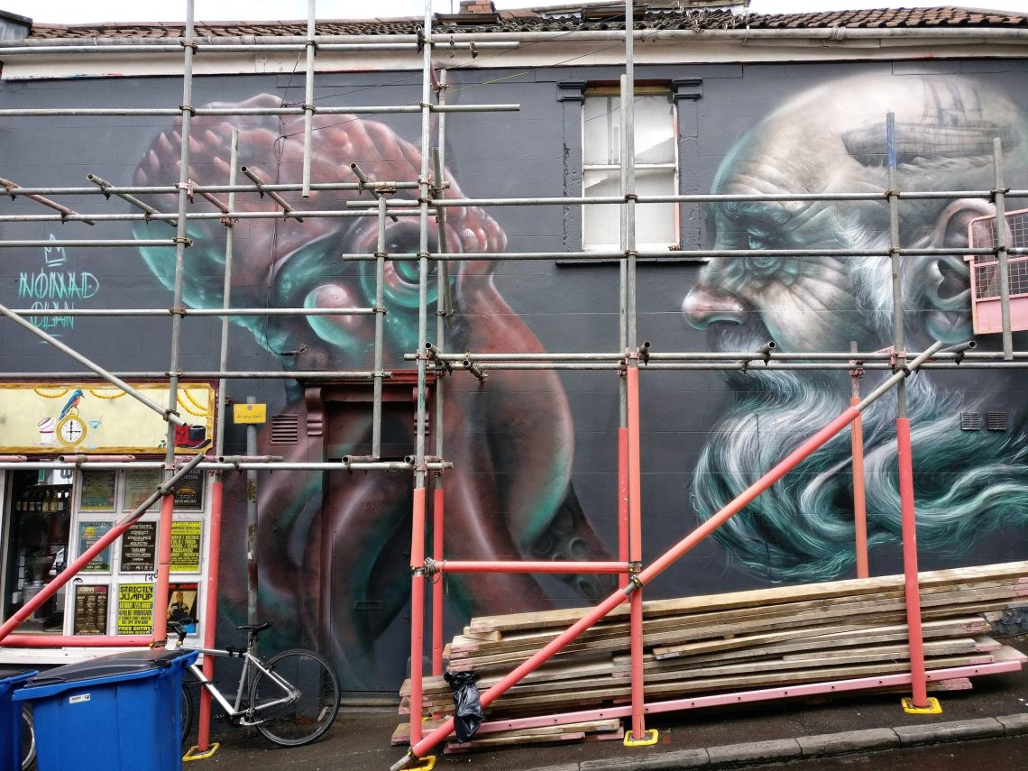 Nomad Clan mural in development during Upfest 2017