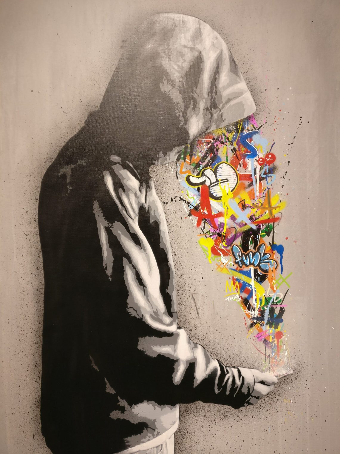 Painting by Martin Whatson at the Social Paradox exhibition at the Stolen Space Gallery
